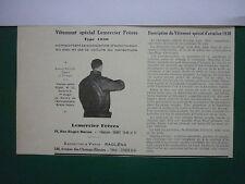 12/30 PUB VETEMENT SPECIAL AVIATION LEMERCIER TYPE 1930 PARACHUTE VESTE CUIR AD