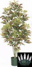 ARTIFICIAL CROTON TREE 5' SILK POT BUSH PLANT TROPICAL WITH CHRISTMAS LIGHTS
