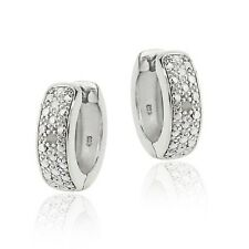 925 Sterling Silver Diamond Accent Huggie Hoop Earrings