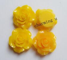 3pz abbellimenti fiore  CABOCHON in resina  Scrapbooking 20x8mm colore giallo