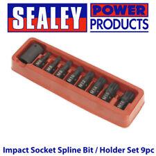 """Sealey AK5611 Impact Socket Spline Bit / Holder Set 9pc- M6-M18 - 1/2""""Sq Drive"""