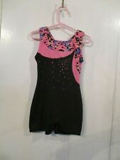 GIRL'S SHORT LEGGED RHINESTONE LEOTARD BY FREESTYLE SIZE S(6/6X )100% POLYESTER