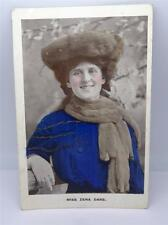 *ANTIQUE HAND COLOURED POSTCARD OF MISS ZENA DARE BY E.S. LONDON c1907**