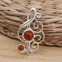 Baltic Amber 925 Sterling Silver Treble Clef Music Note Brooch Pin  Jewellery