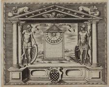 SONNENUHR Löwen RENAISSANCE Orig Kupferstich 1560 Rollwerk Beschlagwerk Kunst