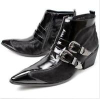 Men's Leather Pointed Toe Formal Dress Ankle Boot Punk Cuban Heel Casual Shoes