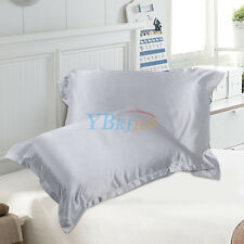 Silk Satin Fabric Cover Silky Bedding Cushion Cover Fitted Sheet Pillow Case BT
