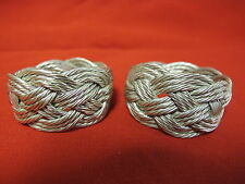2 Vintage Twisted Braided Silver Wire Napkin Rings Unique Heavy Modern