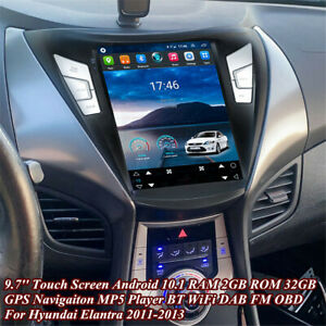 For 2011-2013 Hyundai Elantra 9.7'' Stereo Radio GPS Navigation WiFi FM 2+32GB