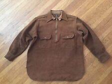1930's Vtg JcPennys Suede Moleskin Work 1/2 Zip up Shirt Chin Strap Shirt XL