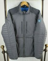 KUHL Size Large Mens Gray Quilted Down Feather Filled Full Zip Jacket Coat