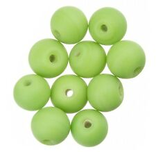 Matte Green Round Glass Beads 10mm Pack of 10 (A33/3)