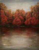 "Original Acrylic Autumn Landscape Painting on Canvas Art New 16"" x 20"""
