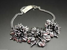 Fossil Tri Blossoms Necklace Vintage Silvertone Chain Large Flower Crystals New!