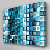 AB039 Blue and White Squares Canvas Wall Art Ready to Hang Picture Print