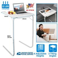 Portable Foldable Table Adjustable Tray Laptop Desk TV Dinner Bed Home Office