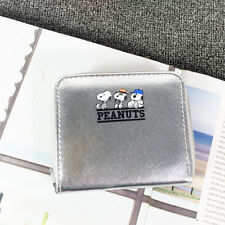 Snoopy Peanuts Wallet Purse Coin Wet Look Faux Leather Silver Zip Olaf