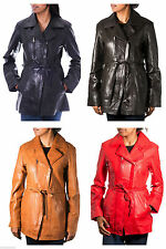 Zip Hip Length Leather Patternless Coats & Jackets for Women