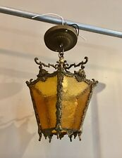 """Antique Gothic Revival Light Fixture Beautiful Amber Glass Wired 15.5""""  36B"""