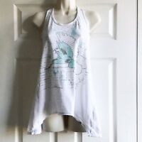 ICHI Size Small Ivory Vest Top Turquoise & Green Floral Print Racer Back Cotton