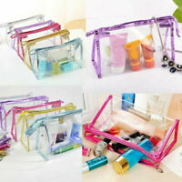 Woman Clear Transparent PVC Travel Cosmetic Make Up Toiletry Bag Zipper Pouch