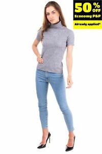 STEFANEL Knitted Top Size S Wool Blend Melange Effect Short Sleeve Polo Neck