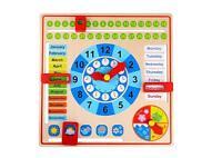 Tooky Toys Bambini Calendario & Stagione Orologio Legno Giocattolo Playset Età