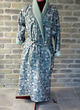 CLAUDEL Soft floral Print Silky Wrap Bathrobe lined in Green Terry Cloth Med