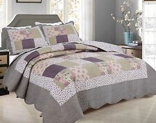 99- All For You 3PC quilt set, bedspread and coverlet with patchwork Prints-4 SZ