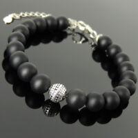 Men's Women Bracelet 8mm Matte Black Onyx 925 Sterling Silver Bead Link 1367