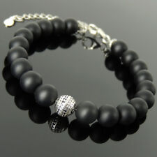 Men's Women Bracelet 8mm Matte Black Onyx 925 Sterling Silver Bead Link 1367