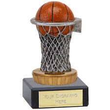 BASKETBALL TROPHY ENGRAVED FREE NET AND BALL TROPHY BASKET  AWARD TROPHIES