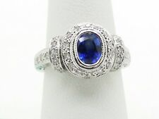 18K White Gold  Natural Sapphire Diamond Engagement Ring Size 6.