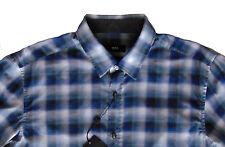 Men's HUGO BOSS Gray Blue Black Plaid Shirt M Medium NWT NEW $145 Slim Fit RONNI