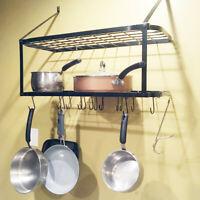 Home Pot Rack Wall Mounted Pan Shelf Hanging Racks 2 Tire Kitchen Black US Stock