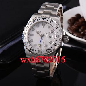 43mm white dial sapphire glass GMT uni-directional bezel automatic men watch 088