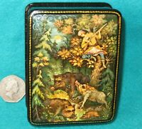 Russian Lacquer Box Hunting Wild Boar small GICLEE style FEDOSKINO Hunt HORSES