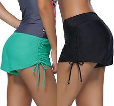 Ladies Women Black Ruched Side Beach Shorts Swimsuit Bottoms Summer Size S-XXXL