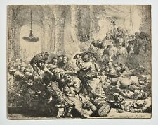 REMBRANDT c.1880 Heliogravure Etching, print, Christ driving out money changers