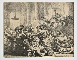REMBRANDT 1800s Heliogravure Etching, print, Christ driving out money changers