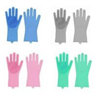 1Pair Magic Silicone Rubber Dish Washing Gloves Scrubber Brush Cleaning Kit C6R5