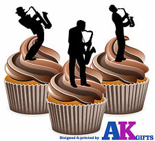 PRECUT Saxophone Silhouette Players 12 Edible Cupcake Toppers Decoration Party