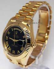 Rolex Day-Date II 18k Yellow Gold Mens Black Roman Dial Watch & Box  218238