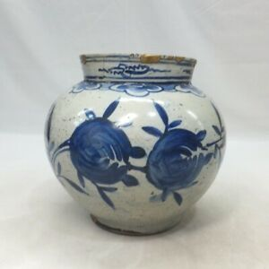A781 Real old Korean blue-and-white porcelain biggish vase of Joseon-Dynasty age