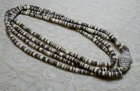 MULTI STRAND BROWN & CREAM COLOR HEISHI LUCITE BEADED STATEMENT NECKLACE 36""