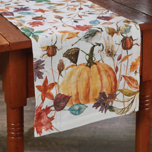 "Park Designs Harvest Home 13""x54"" Fall, Thanksgiving Table Runner Pumpkin Leaves"
