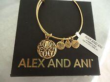 Alex and Ani PATH OF LIFE III  Russian Gold Charm Bangle New W/Tag Card & Box