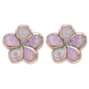 Hawaiian Jewelry Silver Rose Gold Opal Plumeria Flower Hawaii Earrings