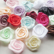 100pcs wholesale Satin Ribbon Flower Rose trimming sewing Lots mix color A441