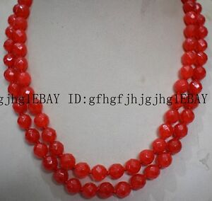 New Natural 8mm orange Ruby Faceted Round Bead Necklace 36-100''